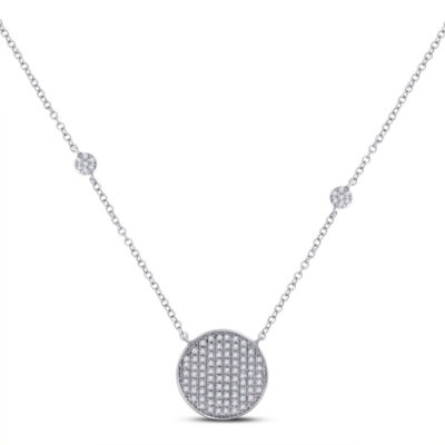10kt White Gold Womens Round Diamond Circle Cluster Necklace 1/4 Cttw