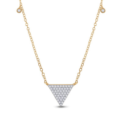 10kt Yellow Gold Womens Round Diamond Triangle Necklace 1/4 Cttw