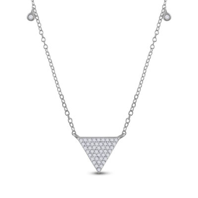 10kt White Gold Womens Round Diamond Triangle Necklace 1/4 Cttw