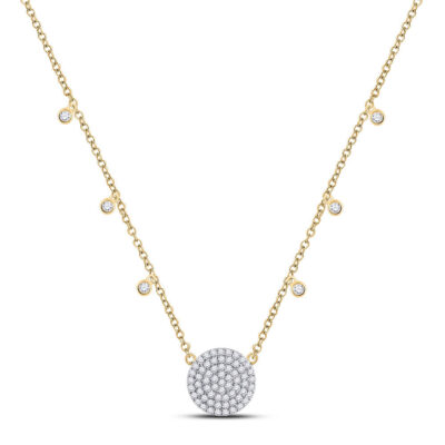 10kt Yellow Gold Womens Round Diamond Circle Cluster Necklace 3/4 Cttw