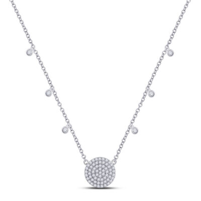 10kt White Gold Womens Round Diamond Circle Cluster Necklace 3/4 Cttw