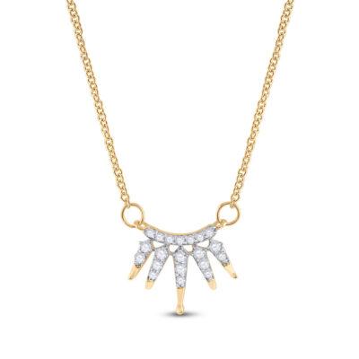 10kt Yellow Gold Womens Round Diamond Fashion Necklace 1/6 Cttw