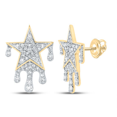 10kt Yellow Gold Mens Round Diamond Dripping Star Earrings 3/4 Cttw
