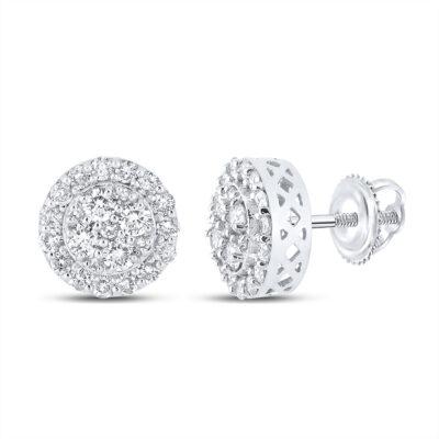 10kt White Gold Mens Round Diamond Cluster Earrings 7/8 Cttw