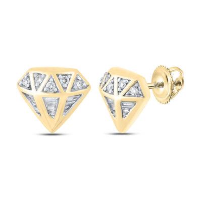 10kt Yellow Gold Mens Baguette Diamond Gem Earrings 1/3 Cttw