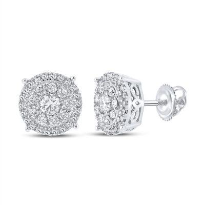 10kt White Gold Mens Round Diamond Cluster Earrings 5/8 Cttw