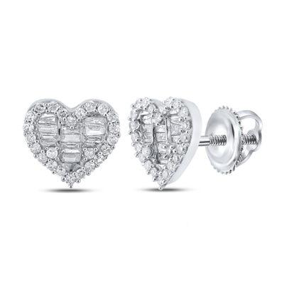 10kt White Gold Womens Baguette Diamond Heart Earrings 1/2 Cttw