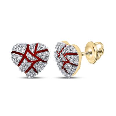 10kt Yellow Gold Mens Round Diamond Broken Heart Cluster Earrings 1/2 Cttw