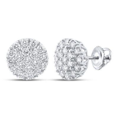 10kt White Gold Mens Round Diamond Cluster Earrings 1-5/8 Cttw