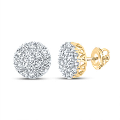 10kt Yellow Gold Mens Round Diamond Cluster Earrings 1 Cttw