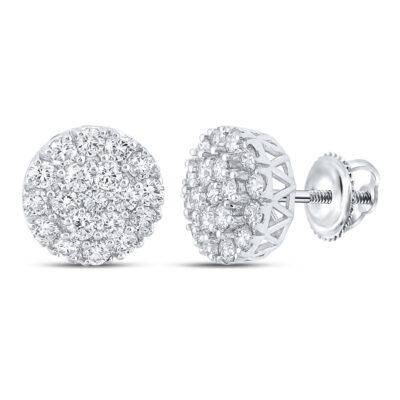 10kt White Gold Mens Round Diamond Cluster Earrings 1 Cttw