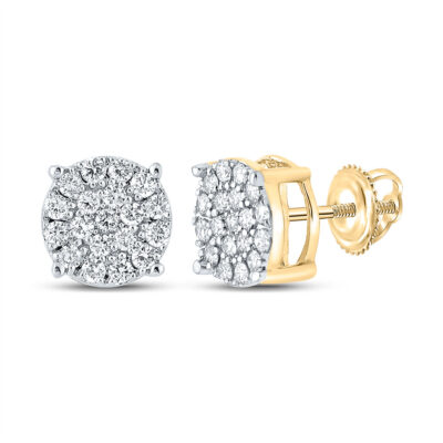 10kt Yellow Gold Mens Round Diamond Cluster Earrings 3/8 Cttw