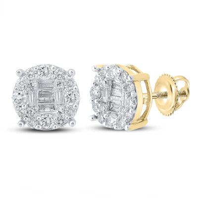 10kt Yellow Gold Mens Baguette Diamond Cluster Earrings 5/8 Cttw