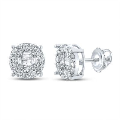 10kt White Gold Mens Baguette Diamond Cluster Earrings 5/8 Cttw