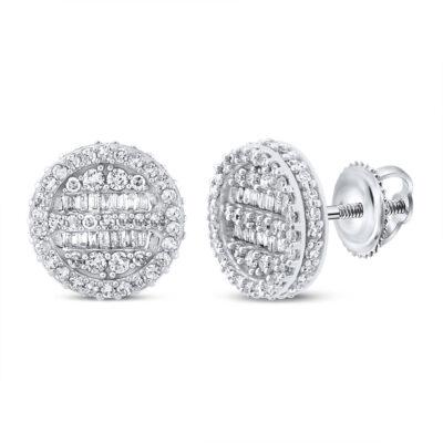 10kt White Gold Mens Baguette Diamond Circle Earrings 3/4 Cttw