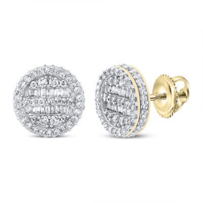 10kt Yellow Gold Mens Baguette Diamond Circle Earrings 1 Cttw