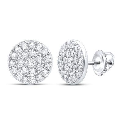 10kt White Gold Womens Round Diamond Cluster Earrings 1 Cttw