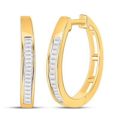10kt Yellow Gold Womens Baguette Diamond Hoop Earrings 1/5 Cttw