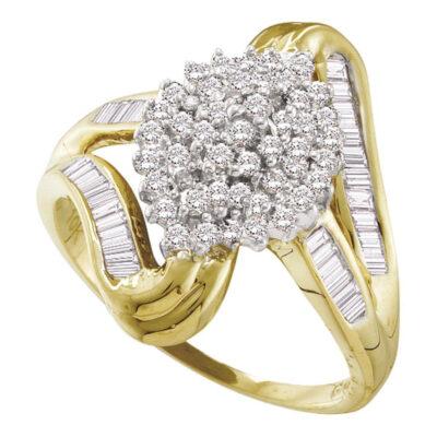 10kt Yellow Gold Womens Round Diamond Cluster Swirl Shank Baguette Ring 1/2 Cttw