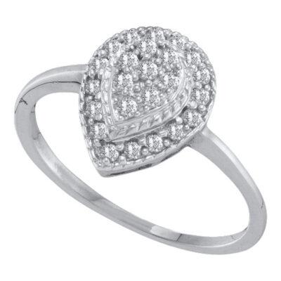 10kt White Gold Womens Round Diamond Teardrop Cluster Ring 1/4 Cttw