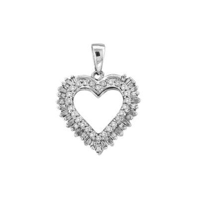 14kt White Gold Womens Round Baguette Diamond Heart Frame Outline Pendant 1/4 Cttw