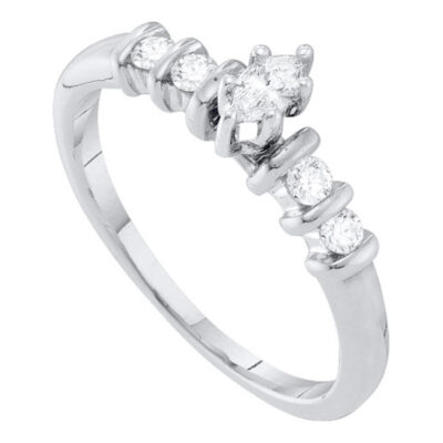 10kt White Gold Marquise Diamond Solitaire Bridal Wedding Engagement Ring 1/4 Cttw
