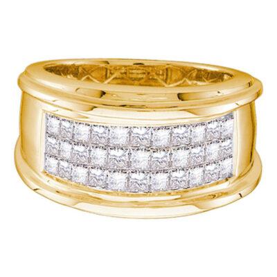 14kt Yellow Gold Mens Princess Diamond Comfort Wedding Anniversary Band Ring 1/2 Cttw