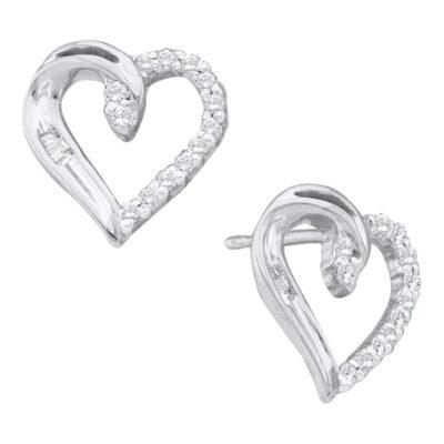 14kt White Gold Womens Round Diamond Heart Earrings 1/6 Cttw
