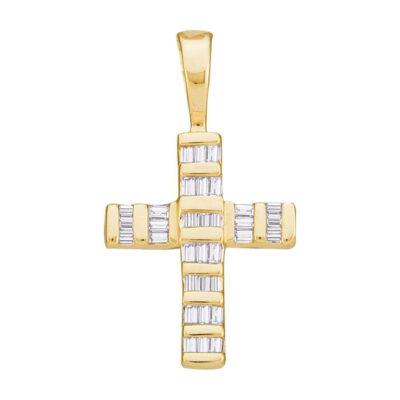 14kt Yellow Gold Womens Baguette Diamond Cross Pendant 1/4 Cttw