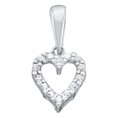 14kt White Gold Womens Round Diamond Heart Pendant .01 Cttw