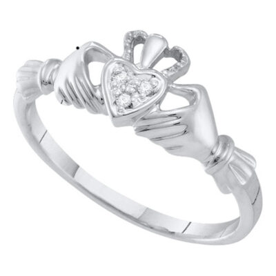 14kt White Gold Womens Round Diamond Claddagh Heart Ring .02 Cttw