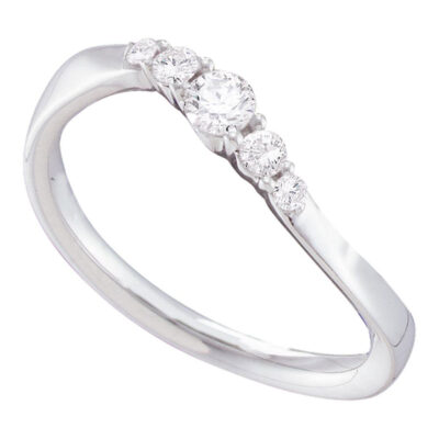 14kt White Gold Womens Round Diamond 5-stone Curved Anniversary Ring 1/5 Cttw