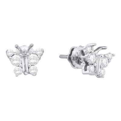 14kt White Gold Womens Baguette Diamond Butterfly Bug Earrings 1/2 Cttw