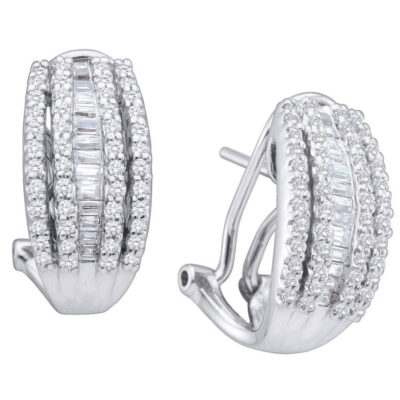 14kt White Gold Womens Baguette Diamond French-Clip Hoop Earrings 1 Cttw
