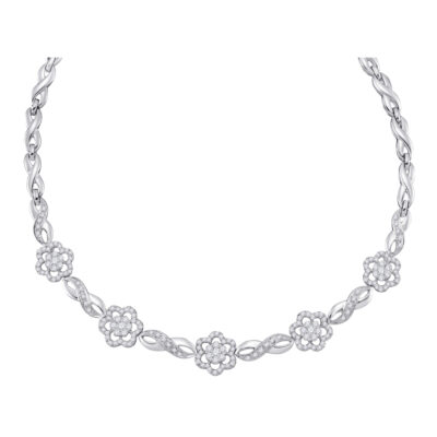 14kt White Gold Womens Round Diamond Infinity Flower Cluster Necklace 2 Cttw