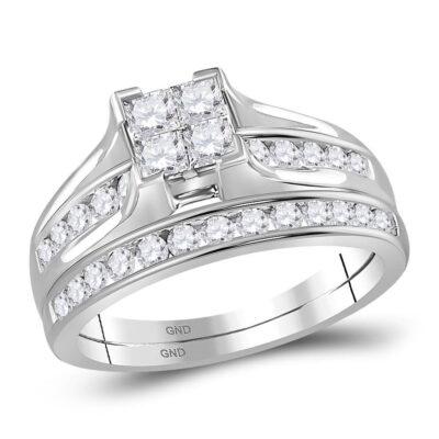 14kt White Gold Princess Diamond Bridal Wedding Ring Band Set 1 Cttw - Size 9