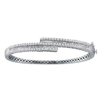 14kt White Gold Womens Baguette Diamond Bypass Bangle Bracelet 1-1/2 Cttw