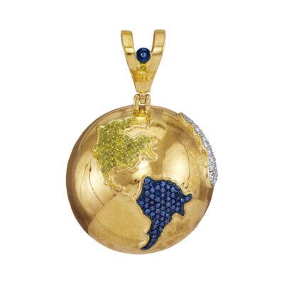 10kt Yellow Gold Mens Round Blue Color Enhanced Diamond Globe Earth Pendant 1 Cttw