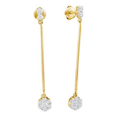 14kt Yellow Gold Womens Round Diamond Slender Flower Cluster Dangle Earrings 1/2 Cttw