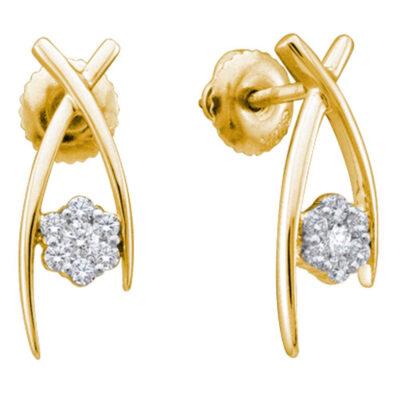 14kt Yellow Gold Womens Round Diamond Flower Cluster Stud Earrings 1/4 Cttw
