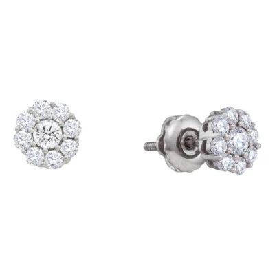 14kt White Gold Womens Round Diamond Flower Cluster Stud Earrings 1/2 Cttw