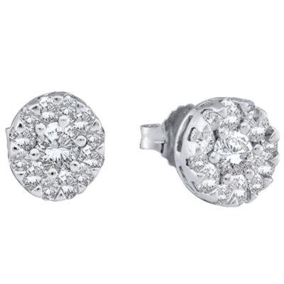 14kt White Gold Womens Round Diamond Flower Cluster Earrings 1/2 Cttw