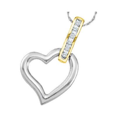 10kt Two-tone Gold Womens Round Diamond Heart Pendant 1/20 Cttw
