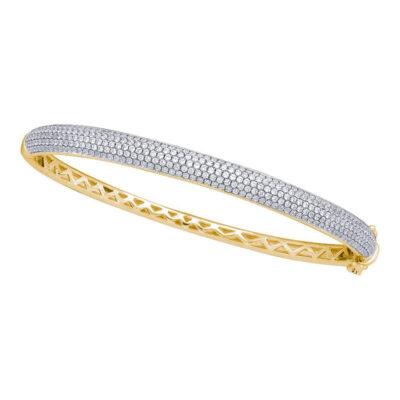 14kt Yellow Gold Womens Round Diamond Pave Bangle Bracelet 2 Cttw