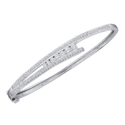 14kt White Gold Womens Round Diamond Graduated Bangle Bracelet 1 Cttw