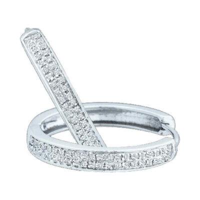 10kt White Gold Womens Round Diamond Hoop Earrings 1/4 Cttw