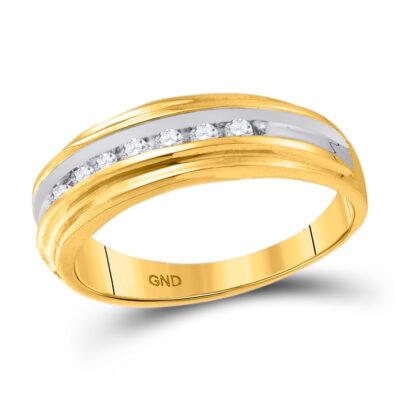 14k Yellow Gold Mens Round Channel-Set Diamond Wedding Anniversary Band Ring 1/4 Cttw