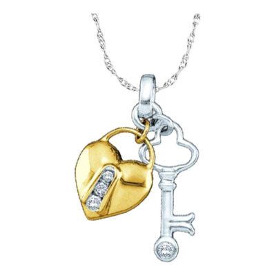 10kt Yellow Two-tone Gold Womens Round Diamond Heart Lock Key Pendant 1/20 Cttw