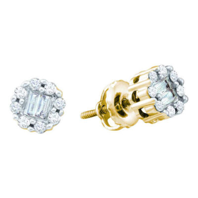 14kt Yellow Gold Womens Round Baguette Diamond Cluster Stud Earrings 1/4 Cttw