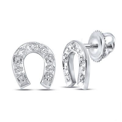 Sterling Silver Womens Round Diamond Horseshoe Earrings 1/20 Cttw
